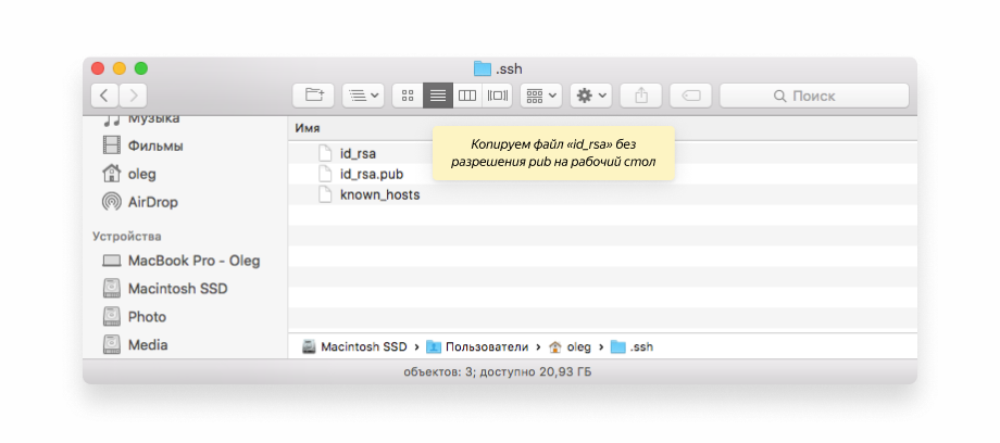 SSH ключи MacOs
