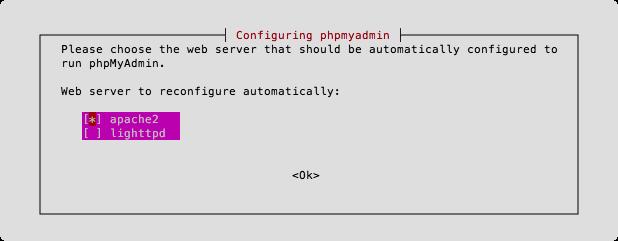 Конфигурация phpMyAdmin - Выбор http-сервера