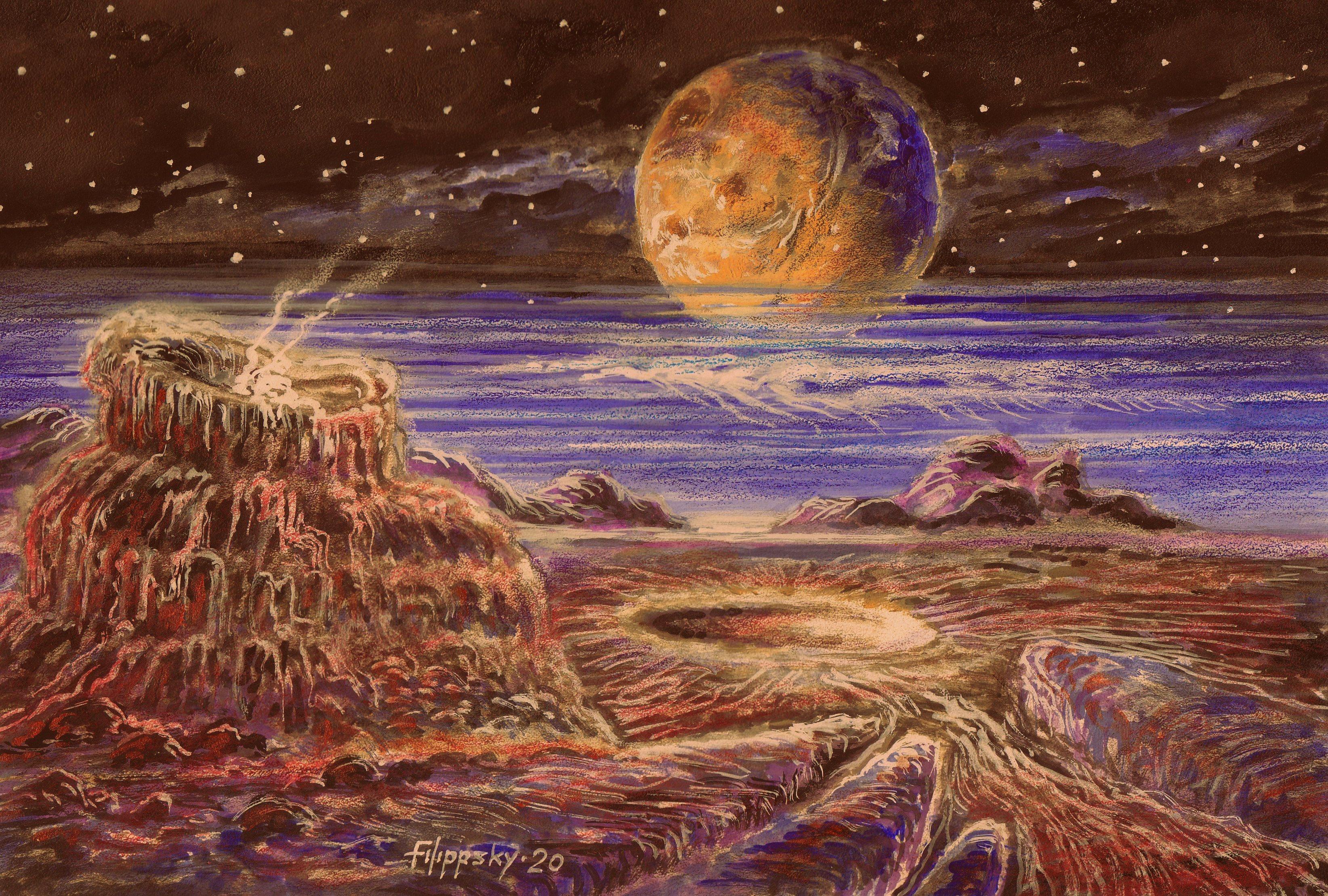 Пейзаж Плутона с Хароном в небе. - Victor Filippsky