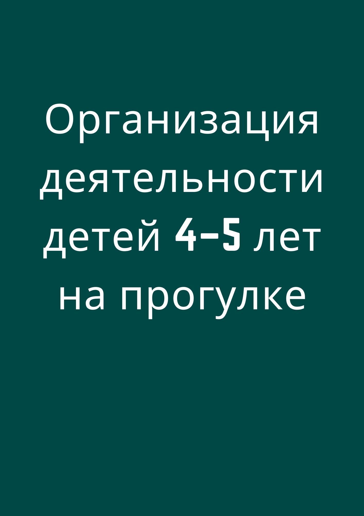 Организация деятельности детей 4–5 лет на прогулке