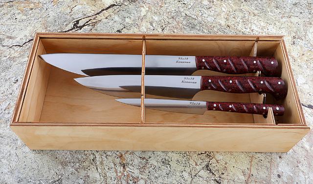 Пенал из фанеры для набора кухонных ножей мастерской Назарова