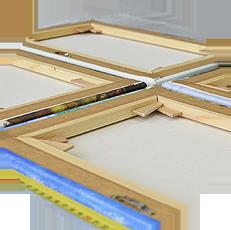 Технически каждый холст состоит из двух важных деталей — полотно и подрамник, изготовление которых происходит параллельно.