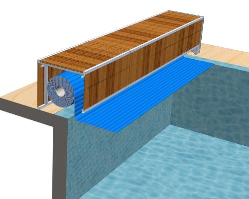 Сматывающее устройство надводное А-2Покрытие подходит для нового или существующего бассейна. Вал устанавливается на борт бассейна в декоративной скамье. Каркас скамьи выполнен из нержавеющие стали, облицовка декингом.