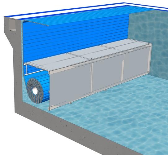 Сматывающее устройство подводноеB-2Покрытие подходит для нового или существующего бассейна. Вал устанавливается у дна бассейна и накрывается декоративной скамьёй