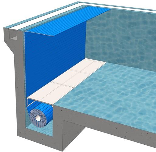Сматывающее устройство подводноеB-3Покрытие подходит для нового бассейна. Вал устанавливается в донной нише бассейна и накрывается декоративной крышкой