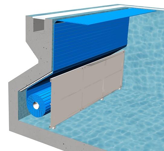 Сматывающее устройство подводноеB-4Покрытие подходит для нового бассейна. Вал устанавливается в нижней стеновой нише бассейна и закрывается декоративной панелью