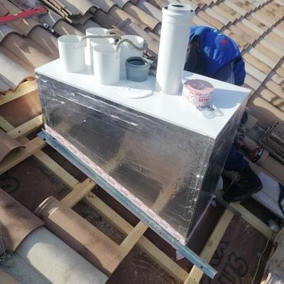 Утепленный вентиляционный модуль на 7 вентшахт, заменяет кирпичную трубу(вид снаружи)