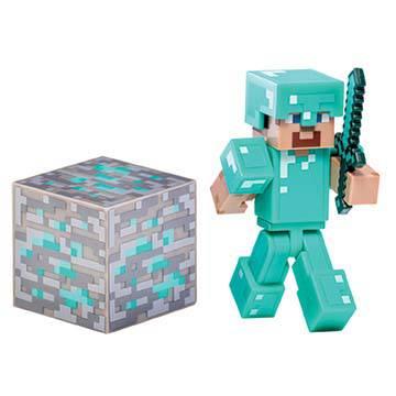 Фигурка Minecraft Diamond SteveФигуркаDiamond Steveиз игры Minecraft (Майнкрафт).В комплекте с фигуркой: кубик алмаза (block of diamond) имеч(diamond sword) Фигурка полностью подвижная.