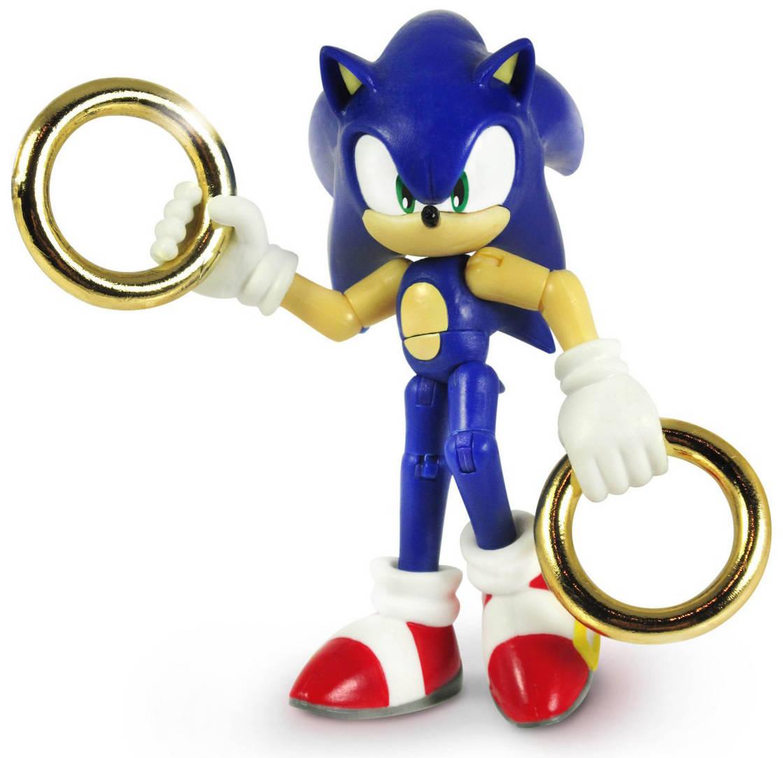 Фигурка Sonic с кольцамиФирменная фигурка Соника с двумя золотыми кольцами. Фигурка обладает точками артикуляции. Вы без труда сможете выбрать любое положение для данной модели.