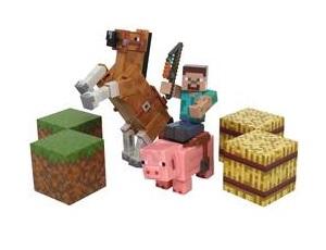 Стив на лошади Minecraft Saddle Pack Набор фигурок с аксессуарами
