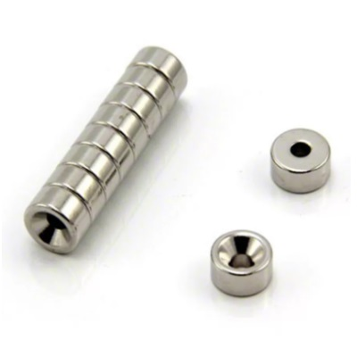 Магнитные кольца с зенковкойНеодимовые магниты в виде колец с зенковкой, имеют парную намагниченность N-S