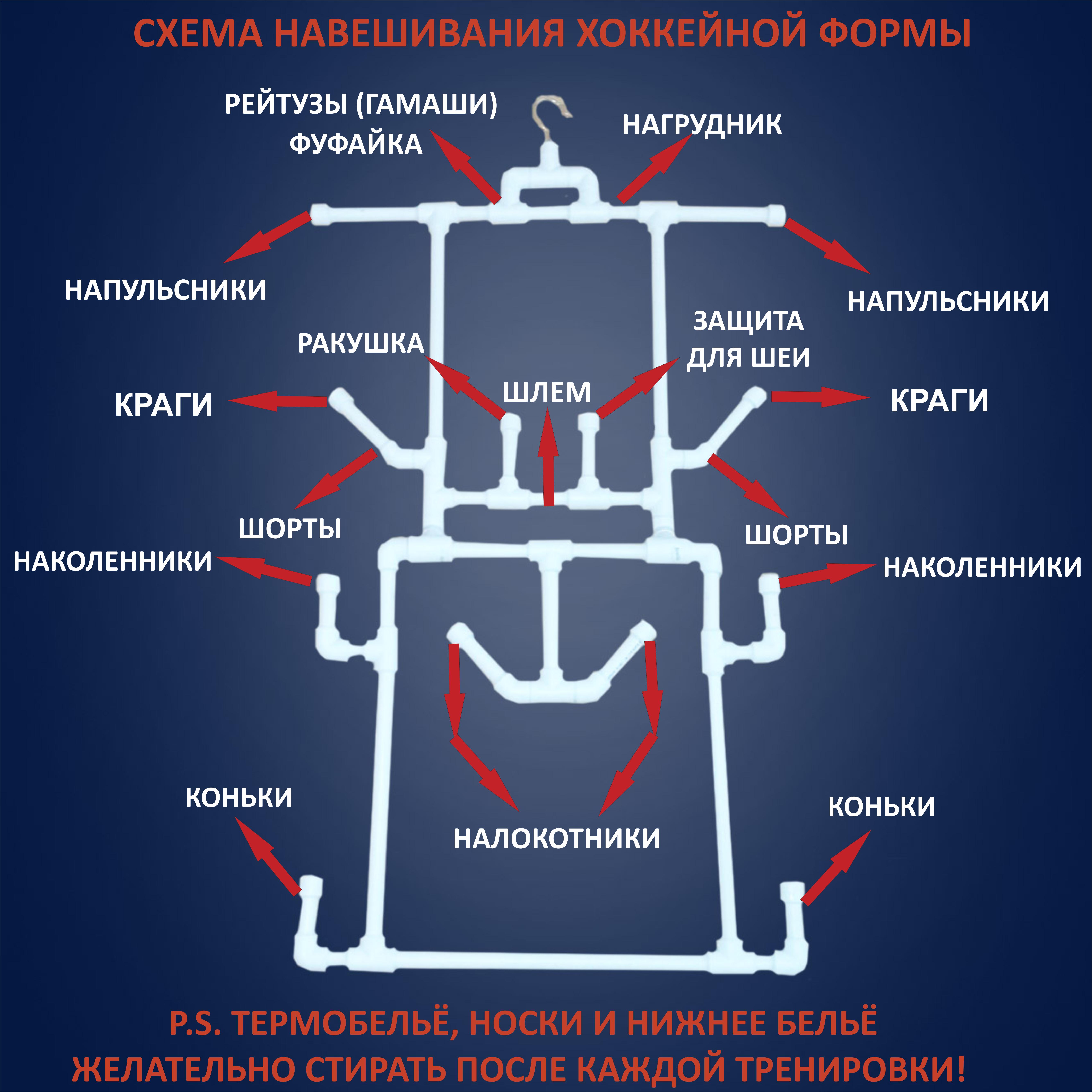Вешалка дляхоккейной формыиз полипропиленовой трубыКНИЖКА