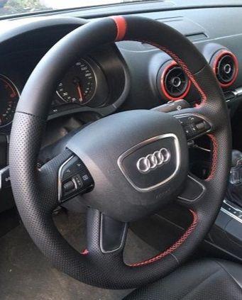 Audi RS3 Перетяжка руля качественной автомобильной экокожей Nappa с перфорацией и нулевой меткой с красной строчкой sportцена 5500