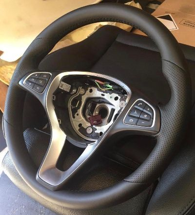 Mercedes GLSПеретяжка руля премиум экокожей Nappa с перфорацией-под заводгарантия 5 летцена 5500
