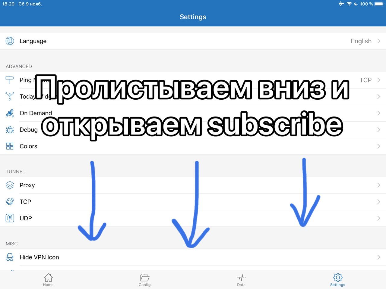 5. Пролистываем вниз и открываем Subscribe