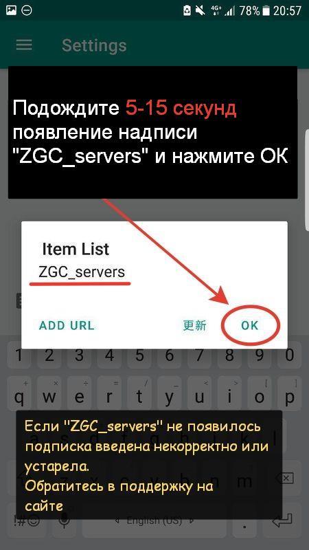 7. После того как появилась надпись ZGC_servers нажмите Ок