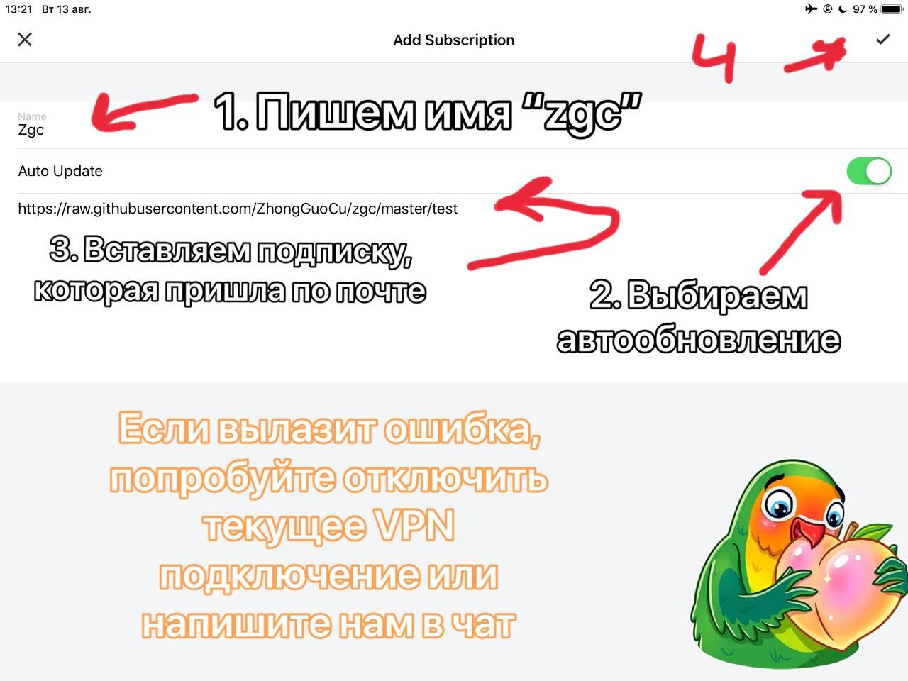 4. Пишем имя Zgc. Выбираем автообновление. Вставляем скопированную ссылку подписки.