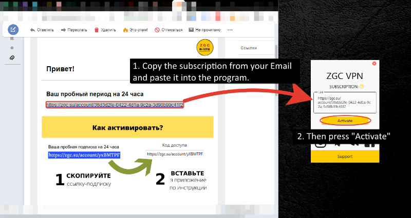 2. After installing the program, copy the subscription from your Email and paste it into the program. Then press Activate.