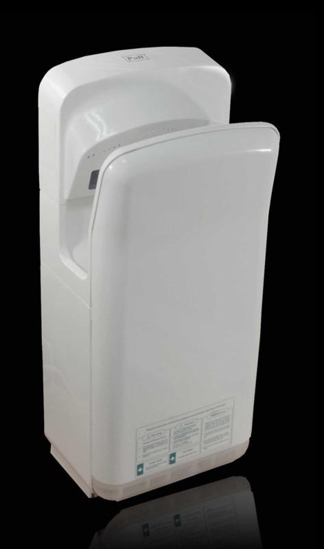 Погружная Высокоскоросная сушилка для рукPuff-8878B    Обладает элегантным дизайном. Не сушит кожу. Воздух подается с трех сторон из форсунок, под определенным углом. Отлично подходит для мест с повышенной и средней проходимостью.     Материал корпуса: ABC-ПластикЦвет: БелыйМощность (Вт): 2000Скорость воздушного потока (м/сек): 95Время сушки рук (сек): 5-7Механизм включения: автоматическийОбласть срабатывания сенсора, см: 5-20Уровень шума, дБ: 78Температура воздушного потока,23/65 С: 2 режима - холодный/горячий воздухКласс влагозащищенности: IPX 4Защита от перегрева/перегрузки: даВес брутто/нетто, кг: 11,2/9,5Габаритные размеры (мм) (ШхГхВ): 290х220х685Гарантия: 12 мес.