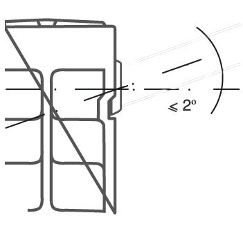 Во избежании аварийной ситуации следует устанавливать радиатор с отклонением от оси не более 2˚