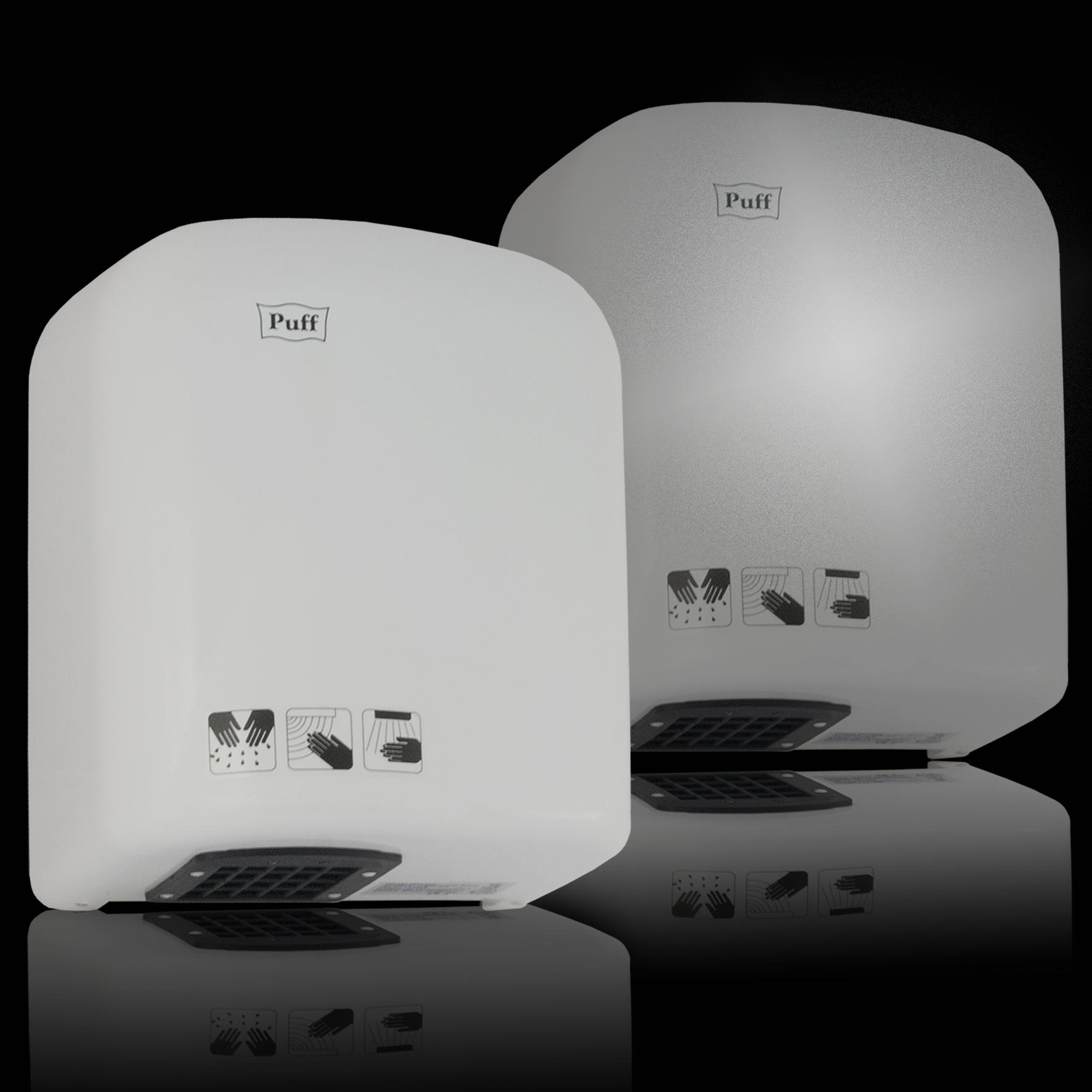 Тихая сушка для рукPuff-165/165С Подробнее   Одна из самых популярных сушилок в своем классе. Состоит из одних преимуществ. Беспроигрышный вариант для мест со средней и малой проходимостью. Выполнена в двух цветах - в белом и в хроме.     Материал корпуса: ABC-платикЦвет: Белый / хромМощность (Вт): 1650Скорость воздушного потока (м/сек): 18Время сушки рук (сек): 10-12Механизм включения: автоматическийОбласть срабатывания сенсора, см: 5-20Уровень шума, дБ: 60Температура воздушного потока, С: 40-55 °CКласс влагозащищенности: IPX1Защита от перегрева/перегрузки: даВес брутто/нетто, кг: 2,6/2,4Габаритные размеры (мм) (ШхГхВ): 225*160*280Гарантия: 12 мес.