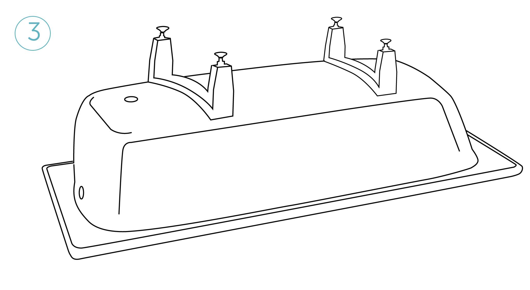 Установите ножки на ванну: снимите защитную пленку с самоклеющихся элементов,предварительно разогрев их строительным феном, плотно прижмите опоры к ванне.