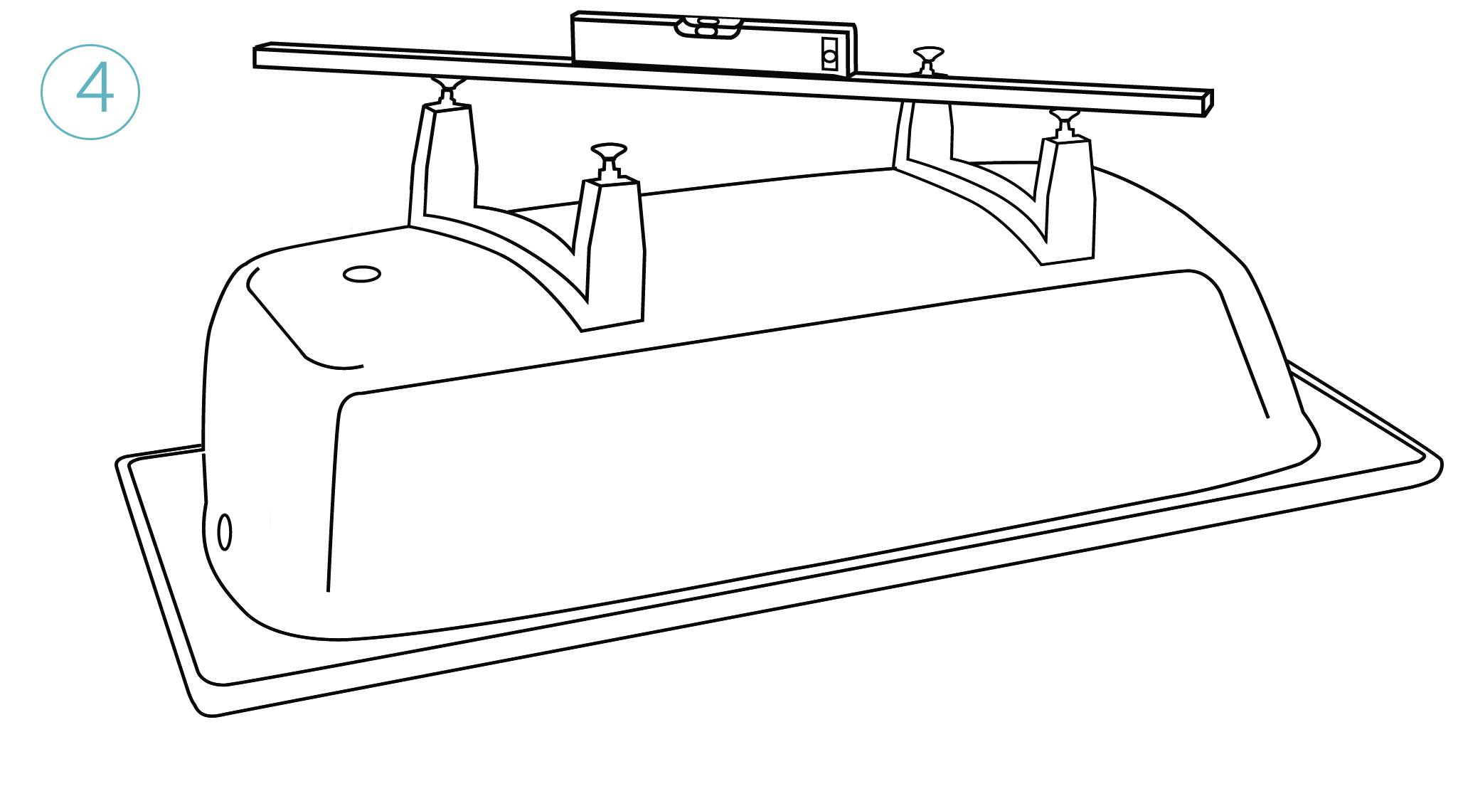 Вкрутите регулировочные винты, переверните ванну с собранной опорой н спомощью строительного уровня приведите ее в горизонтальное положение путем регулировки ножек.