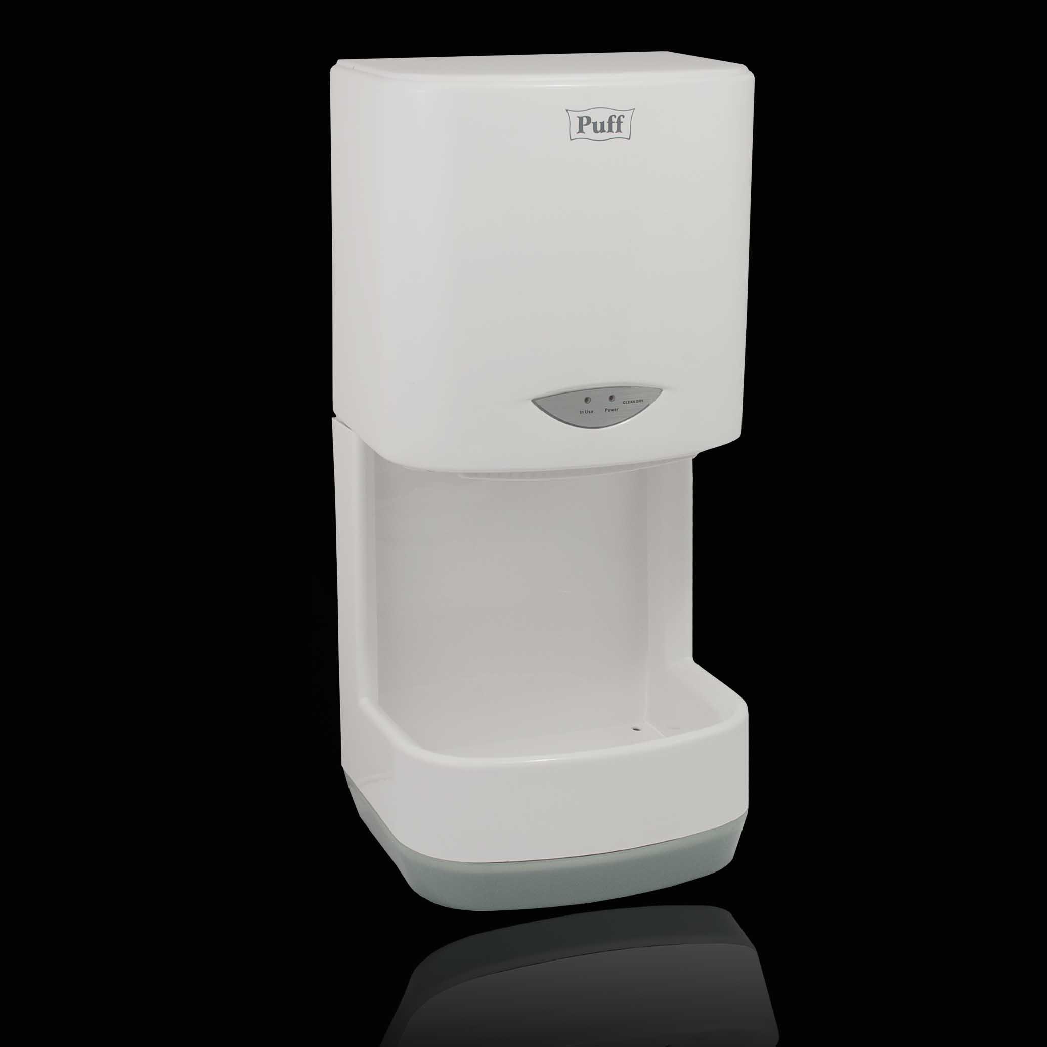 Тихая высокоскоростная сушка для рукPuff-8838 Подробнее   Высокоскоростная сушилка со съемным сборником для капель воды. Сборник позволяет собрать сдуваемые капли с рук благодаря этому поверхность полов остается сухой. Предназначена для частого каждодневного использования.     Материал корпуса: ABC-ПластикЦвет: БелыйМощность (Вт): 1000Скорость воздушного потока (м/сек): 40Время сушки рук (сек): 10-15Механизм включения: автоматическийОбласть срабатывания сенсора, см: 5-20Уровень шума, дБ: 60Температура воздушного потока, С: 2 режима - холодный/горячий воздухКласс влагозащищенности: IPX1Защита от перегрева/перегрузки: даВес брутто/нетто, кг: 5,3/4,5Габаритные размеры (мм) (ШхГхВ): 248*190*520Гарантия: 12 мес.