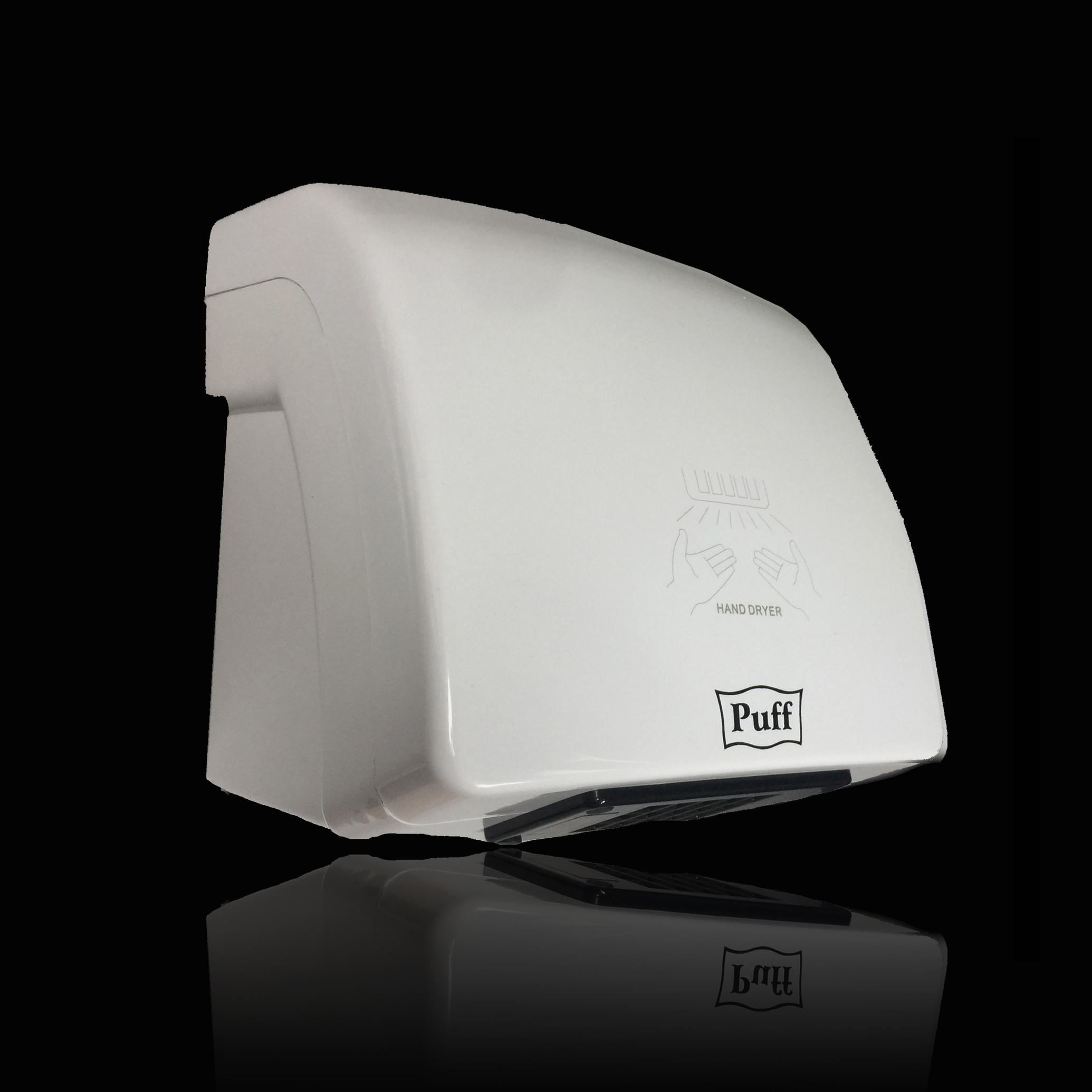 Тихая сушилка для рукPuff-8830 Подробнее   Малошумная. Оптимальное соотношение всех характеристик. Сбалансированная мощность и скорость воздушного потока. Классический дизайн     Материал корпуса: ABC-платикЦвет: БелыйМощность (Вт): 1500Скорость воздушного потока (м/сек): 16Время сушки рук (сек): 15Механизм включения: автоматическийОбласть срабатывания сенсора, см: 5-20Уровень шума, дБ: 55Температура воздушного потока, С: 60-65°СКласс влагозащищенности: IPX1Защита от перегрева/перегрузки: даВес брутто/нетто, кг: 2,75/2,3Габаритные размеры (мм) (ШхГхВ): 215*195*220Гарантия: 12 мес.