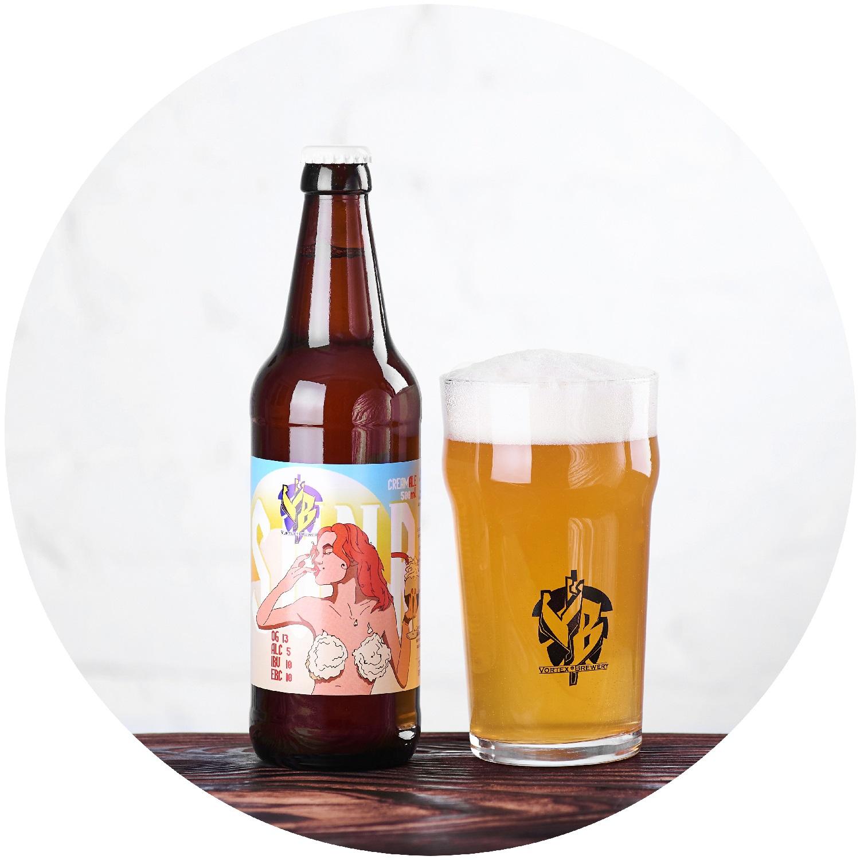 Sunrise(Cream Ale)Тело легкое, вкус очень нежный, как взбитые сливки! Пиво хорошо утоляет жажду и подходит практически под любые блюда. В аромате свежесть и солод!OG 13 °P, ABV 5%, IBU 15, EBC 12