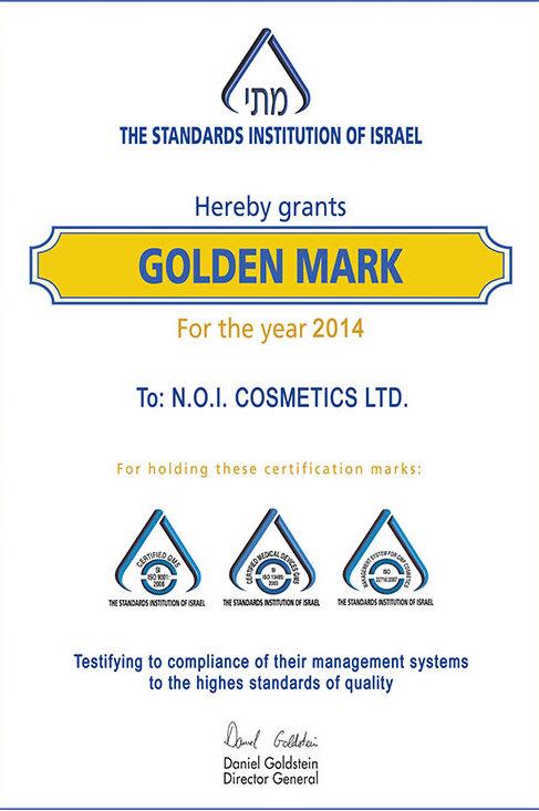 Гарантия качестваНами получено звание Golden mark (Золотая марка) от Национального института стандартов Израиля, подтверждающего высокий уровень и стабильность качества, дизайна и эффективности нашей продукции.