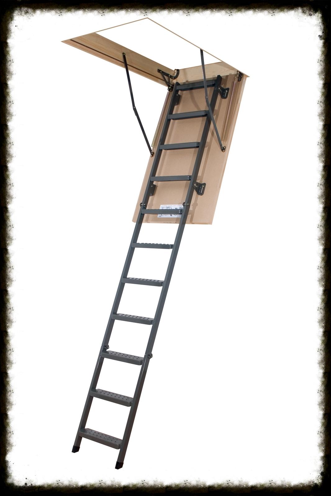 Металлические лестницы LMS (-P, -L)Металлические лестницы обладают рядом отличительных особенностей:Выдерживает повышенную нагрузку до 200 кг, а это значит, что вы можете безопасно подниматься на чердак вместе с вещами.Утепленная крышка люка препятствует проникновению холодного воздуха в жилые помещения.Теплоизоляционная крышка выполнена из светлого ДВП, благодаря чему она гармонично сочетается с потолком.Специальные противоскользящие выемки на ступенях обеспечат безопасный доступ на чердак.Гарантия 3 года.