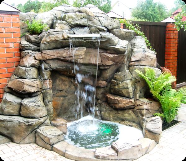 Декор бассейной чаши из искусственного камня