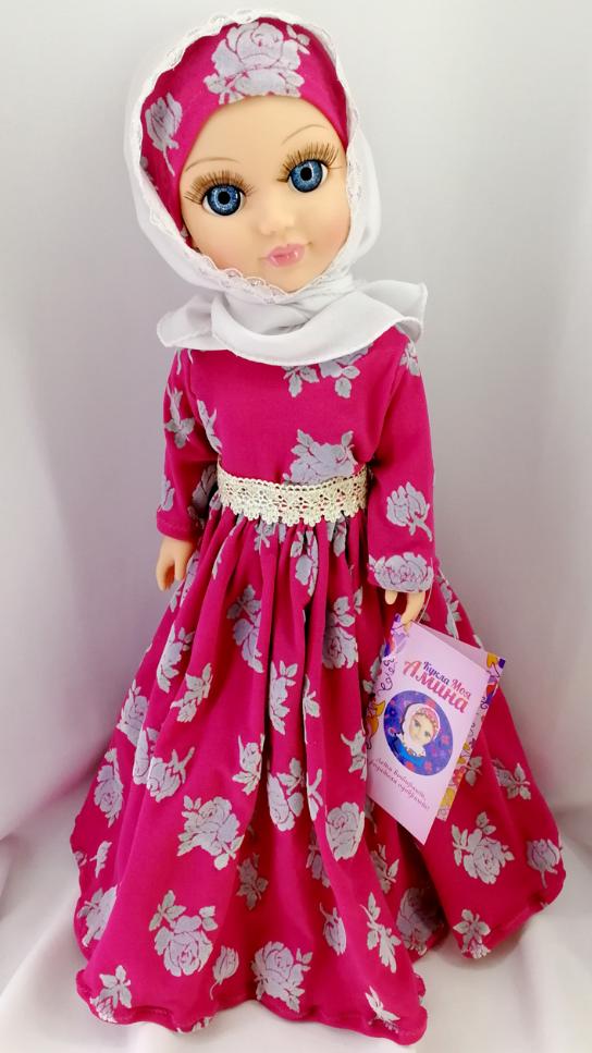 Мусульманская куклаМоя АминаЦена по Акции!говорит15 фраз(среди них: шахада, аузу билляхи, сура Аль-Фатиха