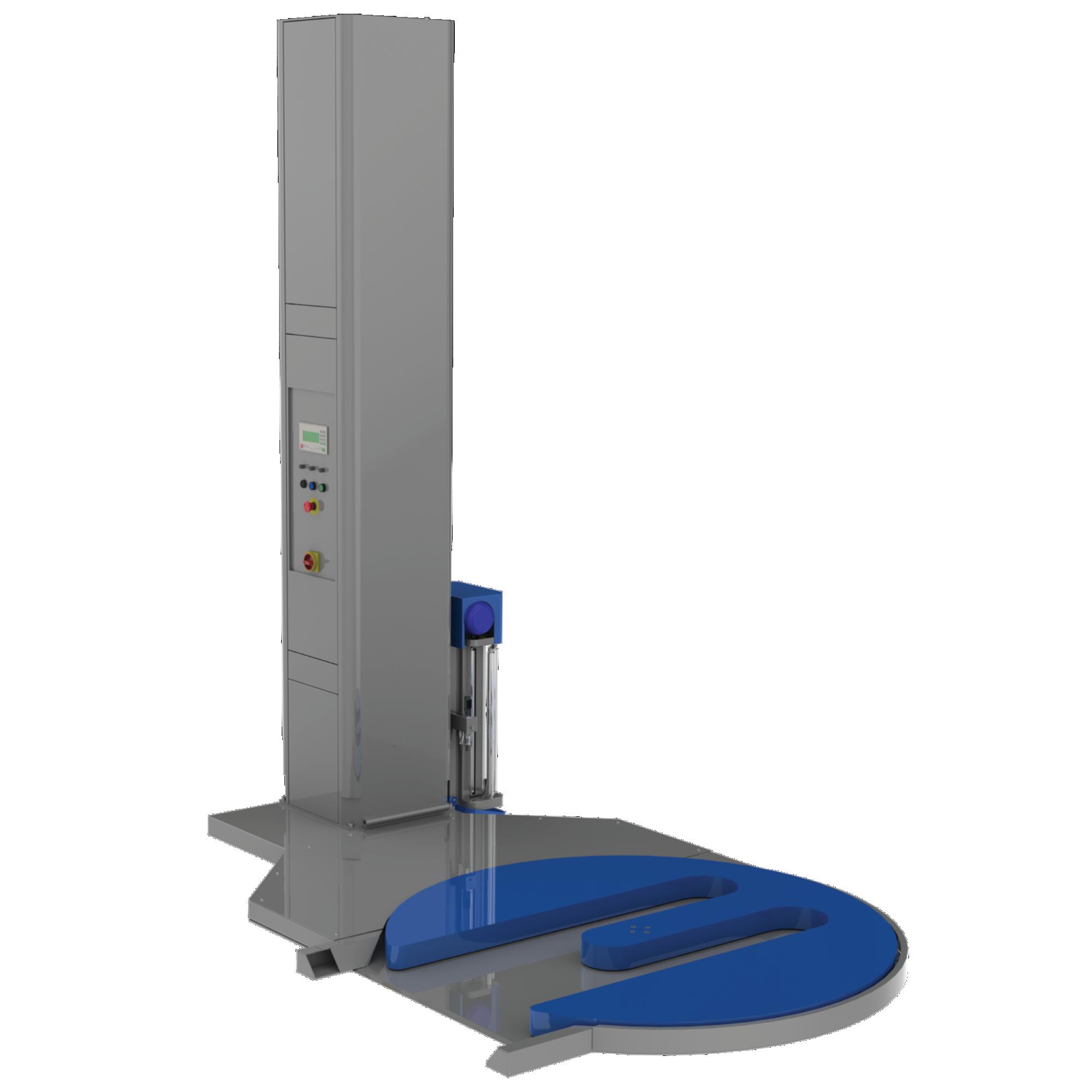 FG-2000BWcu decupaj al platformei rotative pentru urcarea paleților cu transpaletul si prevazuta cu grup de preintindere al foliei