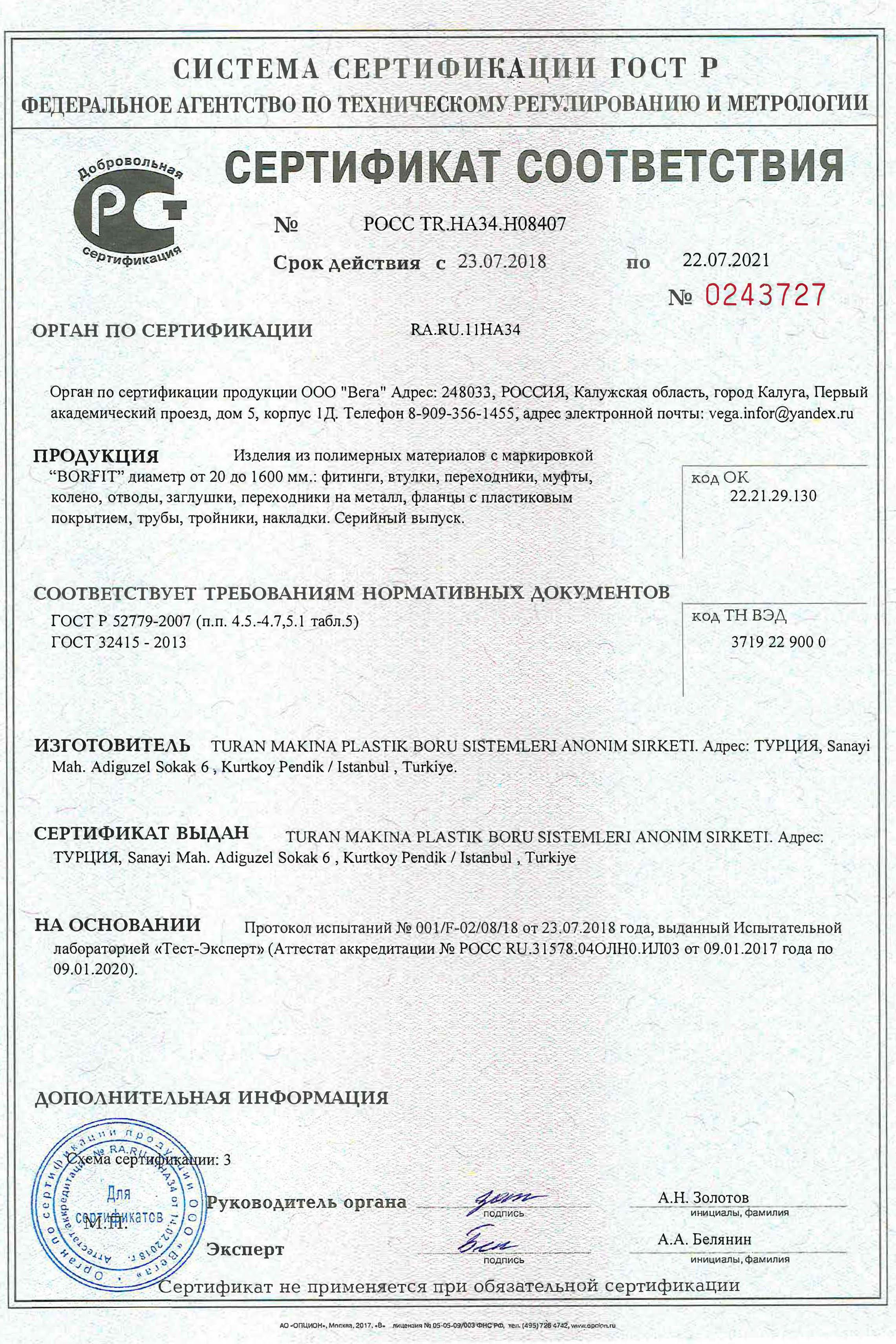 Сертификат соответствия на изделия из полимерных материалов с маркировкой BORFIT