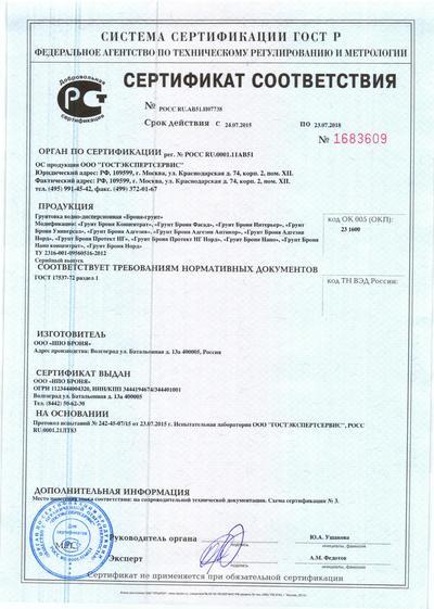 Сертификат соответствия. Специальные покрытия. 24.07.2015