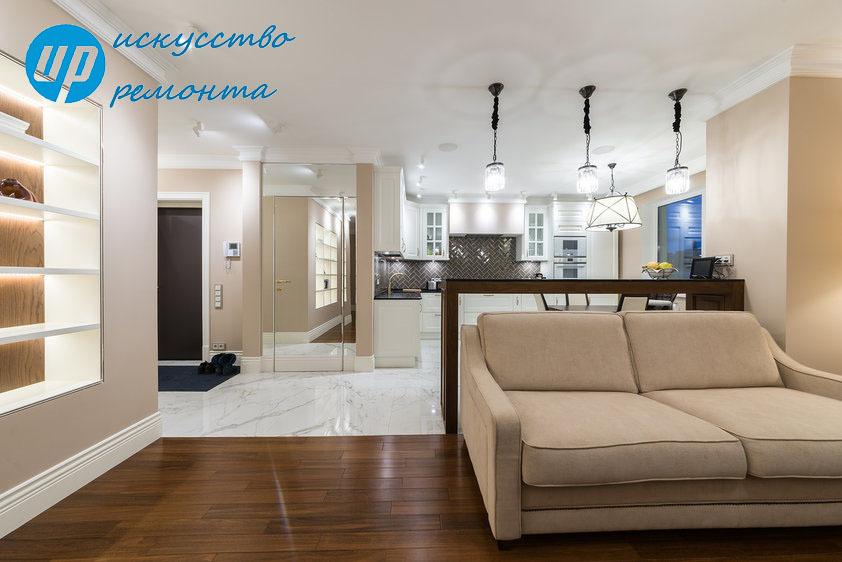 Кухня - ГостинаяСовмещение кухни с гостиной стало самым популярным вариантов соединения нескольких функциональных зон в рамках одной комнаты.