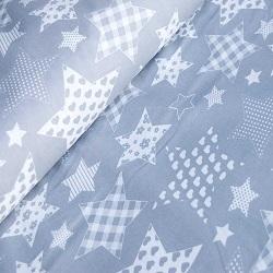 Подушка U340 и наволочка Большие звёзды на сером