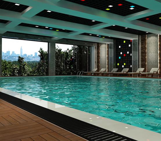 Бассейн с подогревом Крытый бассейн 200 м² для круглогодичного купания