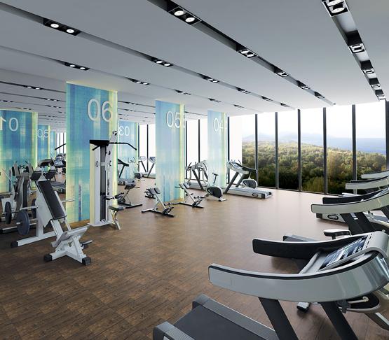 Фитнес центр С великолепным вдохновляющим панорамным видом