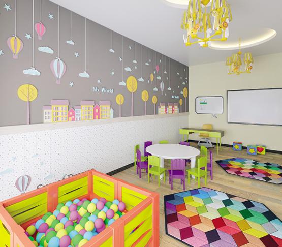 Инфраструктура для детей Детский сад, 2 детские площадки, игровая комната
