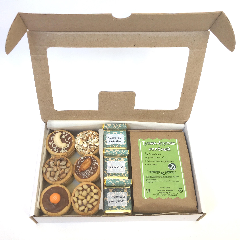 Набор №12. Состав: чай (80 гр.) + конфеты (10 шт.) + печенье ассорти (6 шт.)