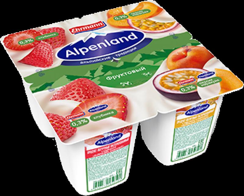 Йогурт ТМ Alpenland Клубника-Персик-Маракуя (1 штука) 0,3% 95г