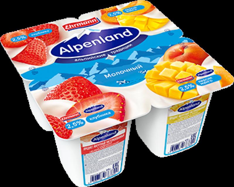 Йогурт ТМ Alpenland Клубника-Персик-Манго (1 штука) 2,5% 95г