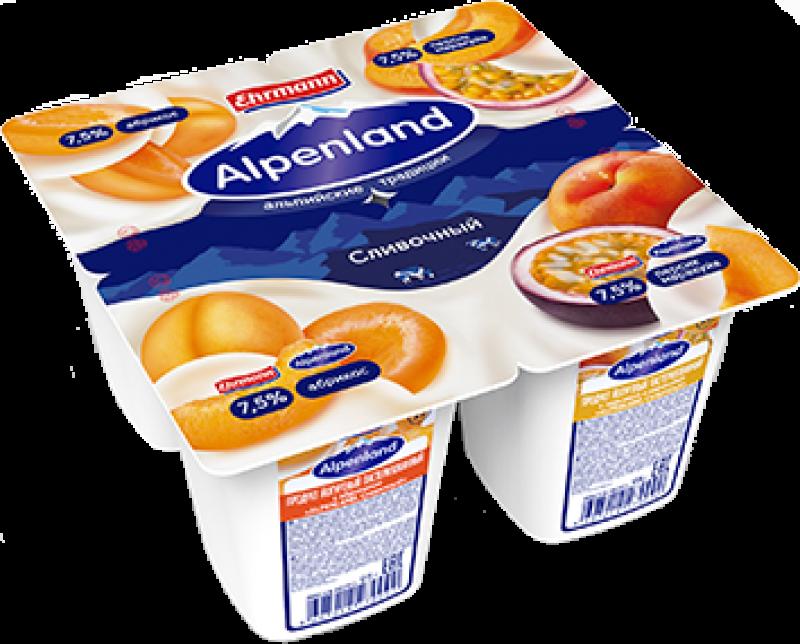 Йогурт ТМ Alpenland Абрикос - Персик - Маракуйя (1 штука) 7,5% 95г