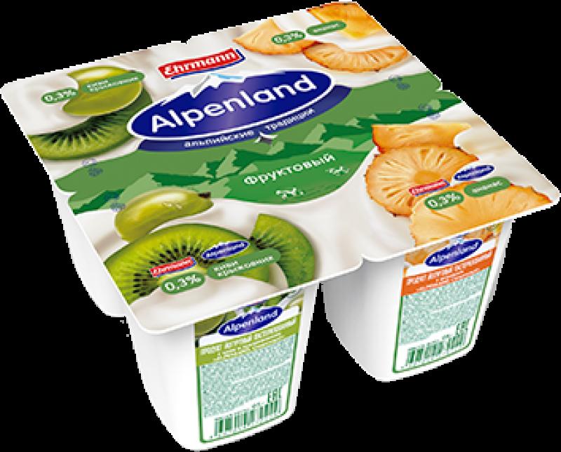 Йогурт ТМ Alpenland Киви-Крыжовник-Ананас (1 штука) 0,3% 95г