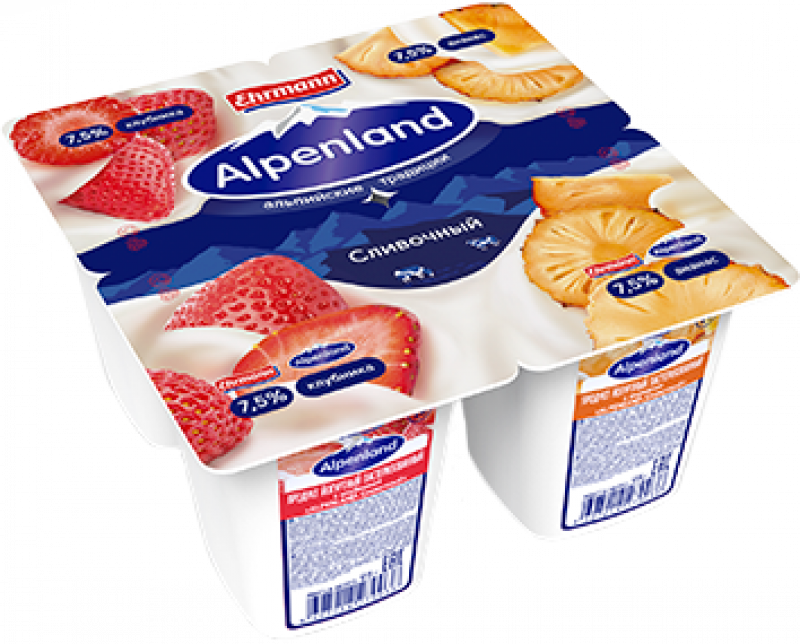 Йогурт ТМ Alpenland Клубника - Ананас (1 штука) 7,5% 95г