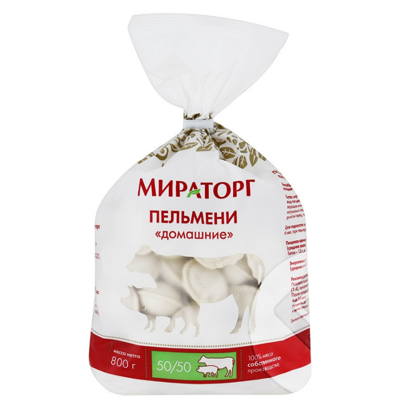 Пельмени ТМ Мираторг Домашние свино-говяжьи с/м 0,8кг