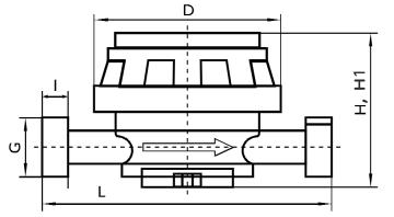 Габариты счетчика DN15-20
